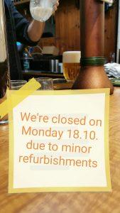 Closed on Monday 18.10.